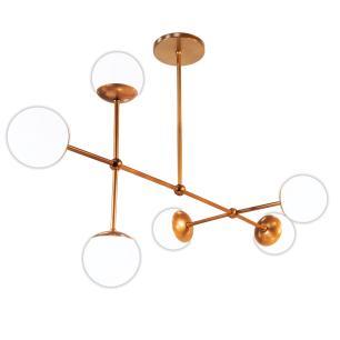 Luminária Sputnik Gun Bola de Vidro Industrial 6 hastes Assimetrico Soq: G9   Cor: Cobre   Tam: 80cm   Mod: Sputnik Gun Bola de Vidro