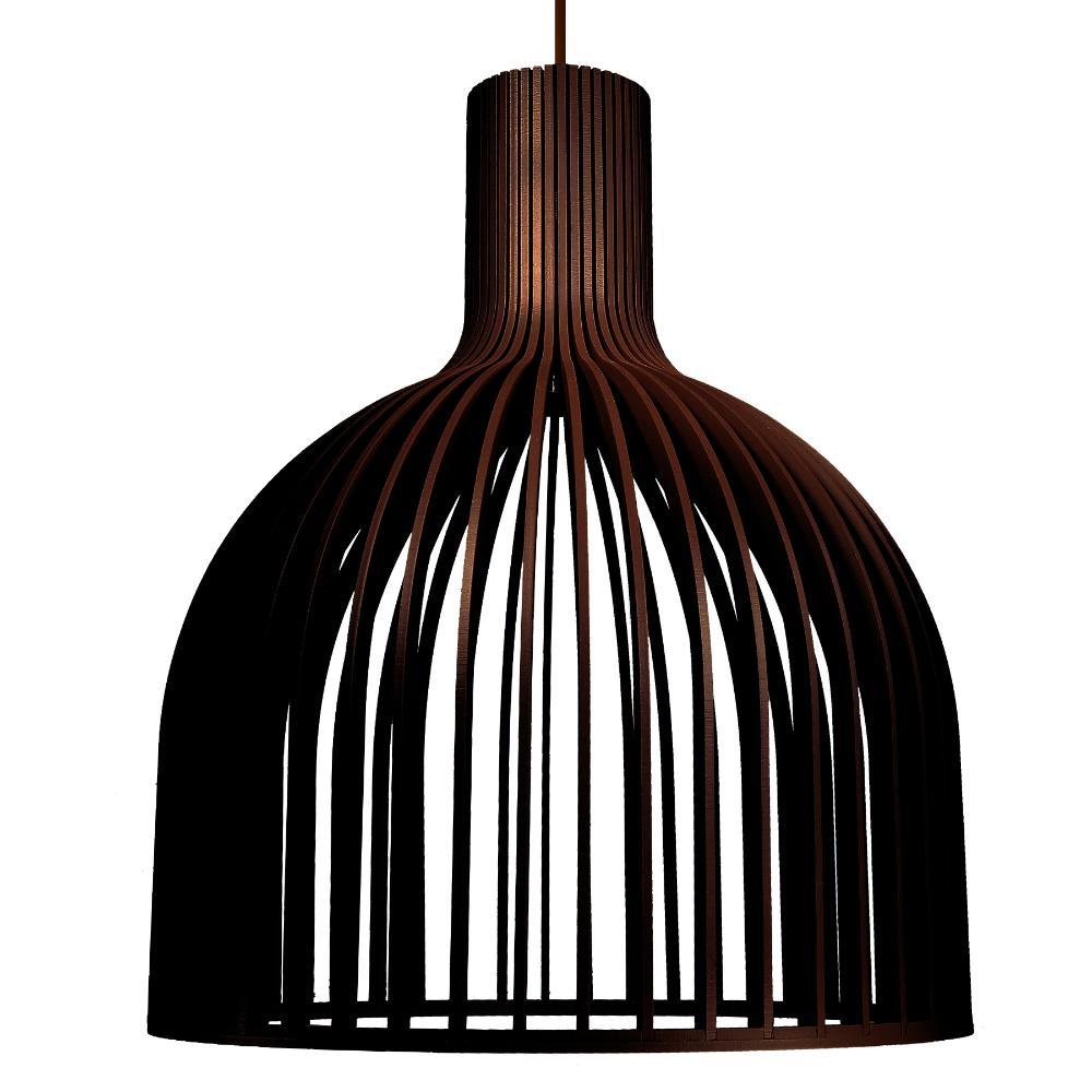 Luminária Pendente Denebola Marrom Café em Madeira - Soq: E27 / Tam: 28x34cm