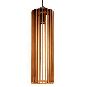 Luminária Pendente Angelico Caramelo de Madeira - Soq: E27 / Tam: 11x37cm