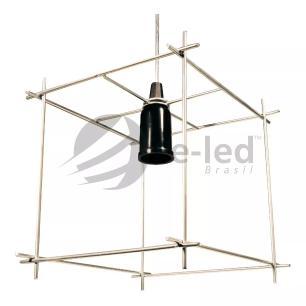 Lustre Pendente Aramado Industrial Cubo Soq: E27   Cor:Prata   Tam: 19cm   Mod: Cube