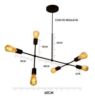 Luminária Sputnik Gun Industrial 6 hastes com Fio Ajustável e Desviador Soq: E27 | Cor: Preto | Tam: 60cm | Mod: Sputnik Gun