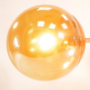 Luminária Sputnik Recto Industrial 6 hastes com Bolas de Vidro Ambar Soq: G9 | Cor: Cobre| Tam: 80cm | Mod: Recto