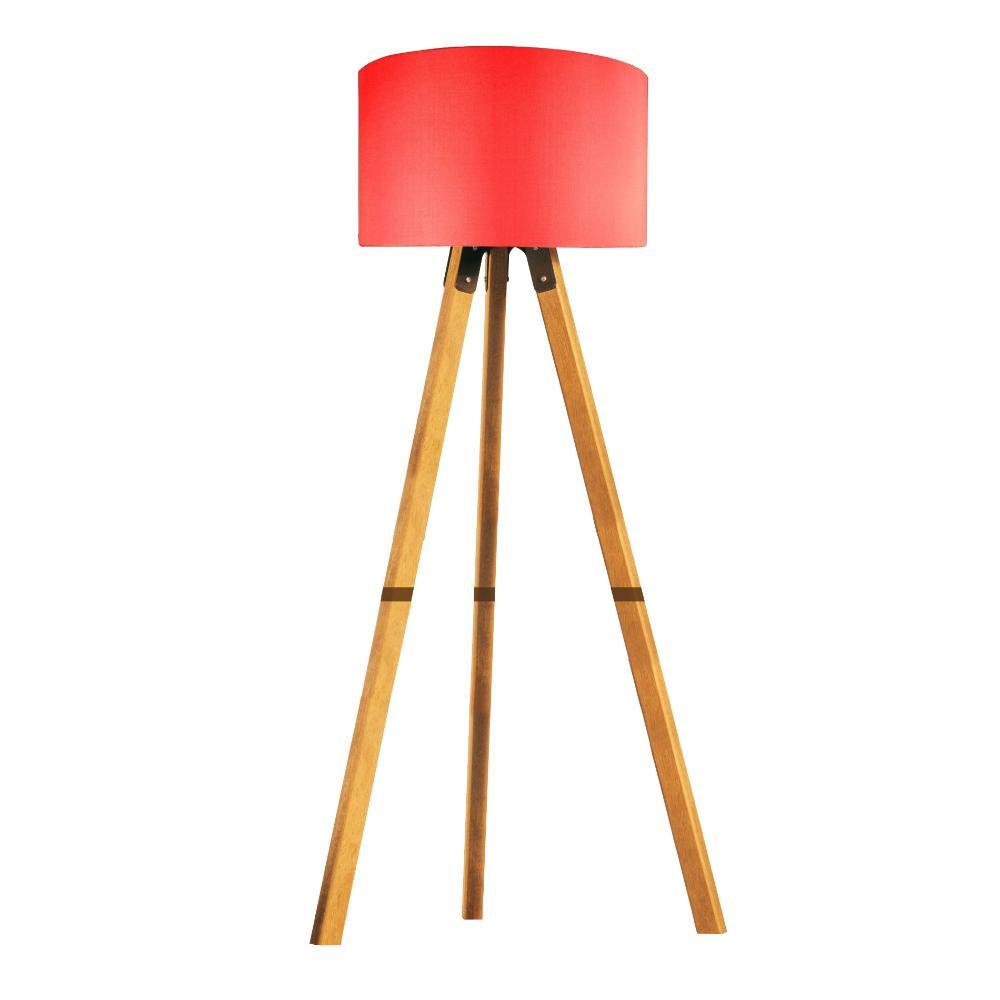 Abajur de Chão Tripé | Madeira de Cedro | Cúpula de Tecido Vermelho | Tam: 150x44cm | Mod: Eros