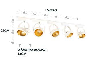 Trilho Eletrificado 2 metros com 5 Spots Branco SOQ: AR111 2700K| COR: Branco com Dourado| TAM: 2M | MOD: L3