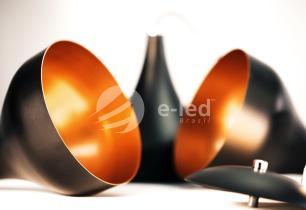 Luminária Pendente Gota Preto com Cobre de Aluminio | Soq: E27 | Tam: 18x15cm | Mod: Metty