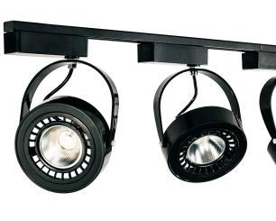 Trilho Eletrificado 1,5 metro com 6 Spots Preto Soq: AR70 2700K | Cor: Preto com Prata | Mod: L4