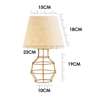 Abajur Lanterna Aramado Cobre Design Moderno Com Cúpula De Tecido Bege