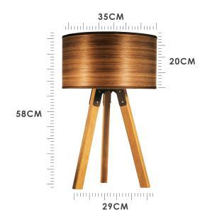 Abajur de Mesa Tripé | Madeira de Cedro | Cúpula de Madeira | Tam: 58x29cm | Mod: Eros