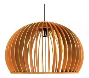 Luminária Pendente Isar Caramelo de Madeira - Soq: E27 / Tam: 60cm