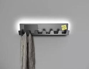 Cabideiro de Parede Para Carregador e Celular | Cor: Cinza | Tam: 50x15cm | Com LED Embutido