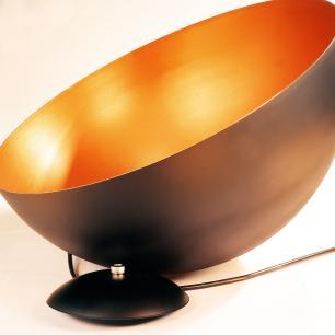 Lustre Pendente Meia Lua Preta com Cobre de Alumínio | Tamanho do cabo: 200cm e desviador | Soq: E27 | Tam: 60x30cm