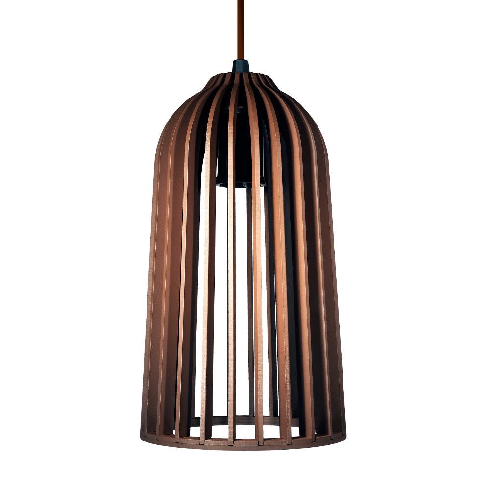 Luminária Pendente Giotto Marrom Tabaco em Madeira - Soq: E27 / Tam: 14x25cm