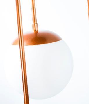 Luminária Cascata Triplo Assimetrico Bola de Vidro 15cm | Canopla Retangular | Soq: E27 | Cor: Cobre | Mod: Cascata Triplo Assimétrico Bola de Vidro