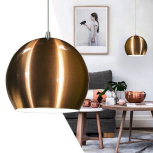 Luminária Pendente Meia Bola Conflate Cobre de Alumínio - LED 2.700K / Tam: 25x19cm