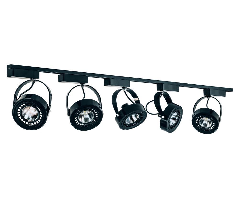 Trilho Eletrificado 1,5m com 5 Spots AR111 Preto com Lâmpada AR70 Prata LED 7W 6.000K L4