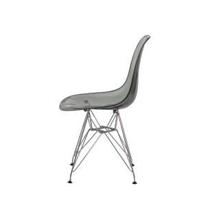 Kit 2 Cadeiras Eiffel Eames Dsr Preto Translúcido Base Cromada