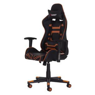 Cadeira fx Gamer Reclinável 180º Giratória Preta Com Laranja Ajustável Função Relax Rodas Anti Risco