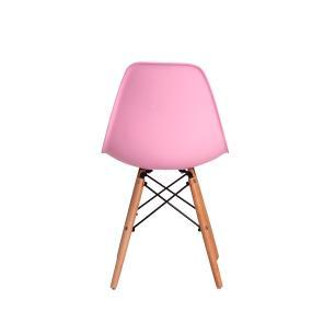 Kit 5 Cadeiras Eiffel Eames Dsw Rosa Claro Base Madeira