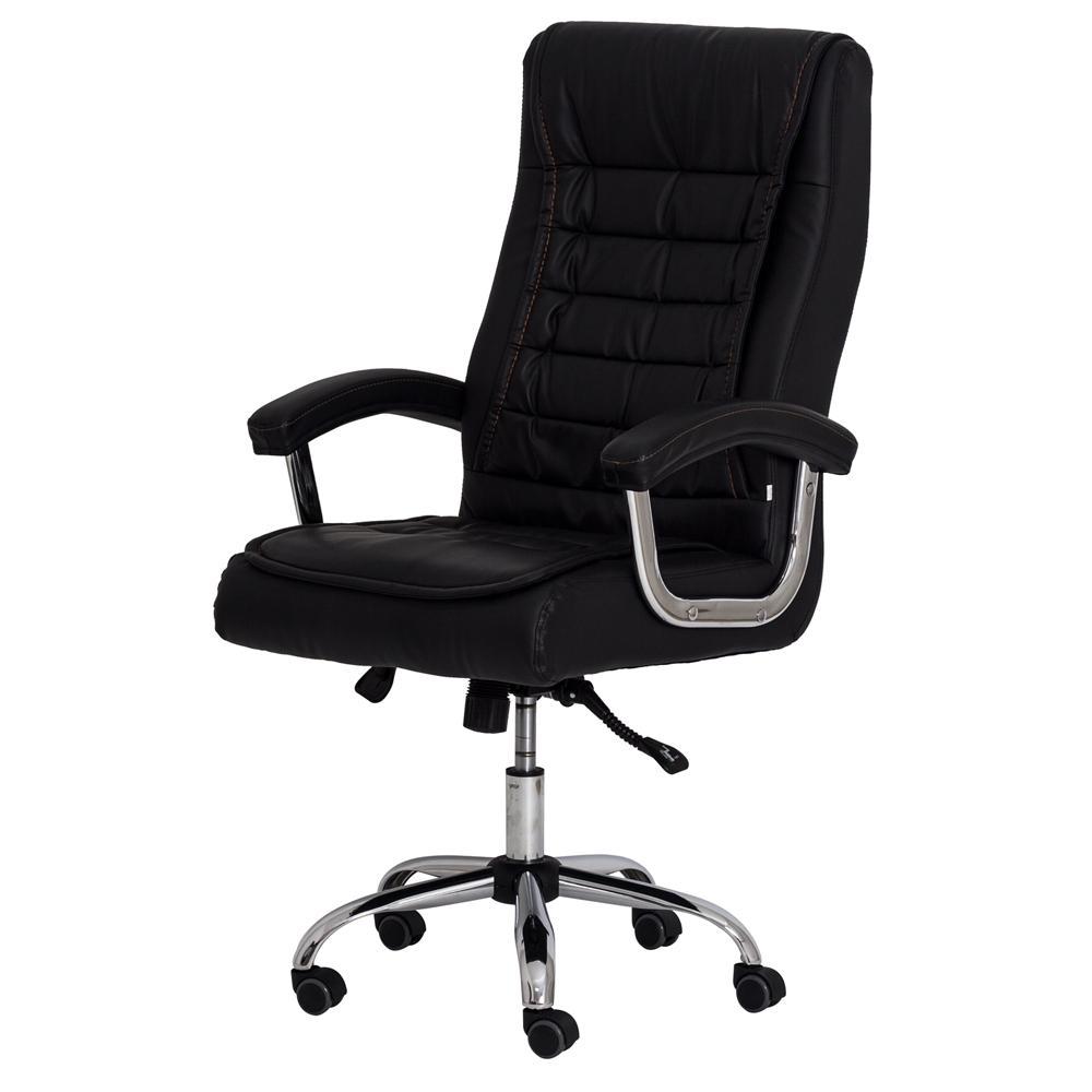 Cadeira Escritório Big Presidente Preta Mola Ensacada Base Giratória Cromada Altura Ajustável