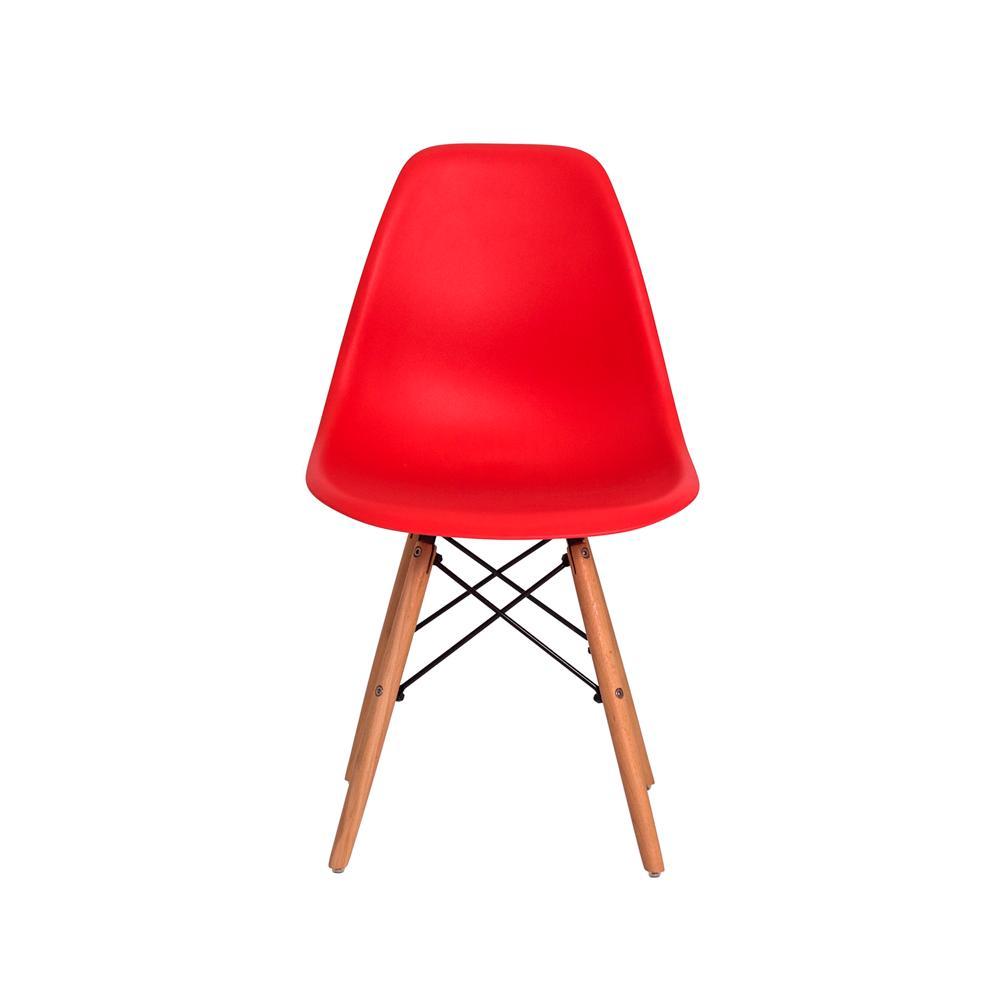 Kit 6 Cadeiras Charles Eames Eiffel Vermelha Base Madeira Sala Cozinha Jantar