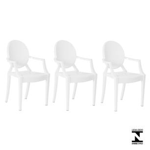 Kit 3 Cadeiras Louis Ghost Branca Policarbonato Sala Cozinha Jantar