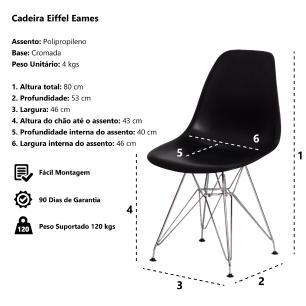 Cadeira Eiffel Eames Vermelha Base Cromada Sala Cozinha Jantar