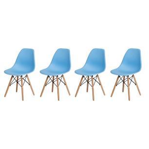 Kit 4 Cadeiras Charles Eames Eiffel Azul Claro Base Madeira Sala Cozinha Jantar