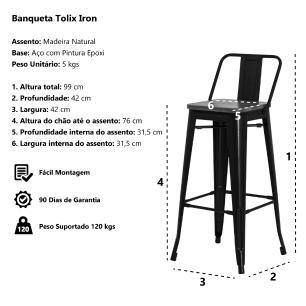 Banqueta Tolix Iron Assento Madeira Preto Fosco Industrial Aço Cozinha Bar Bistrô Bancada
