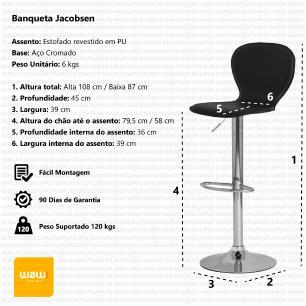 Kit 2 Banquetas Jacobsen Marrom Café