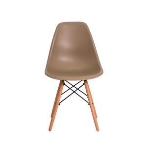 Kit 5 Cadeiras Eiffel Eames Dsw Nude Base Madeira