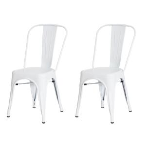Kit 2 Cadeiras Tolix Iron Design Branca Aço Industrial Sala Cozinha Jantar Bar
