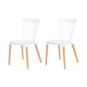 Kit 2 Cadeiras Ellen Windsor Polipropileno Branca Base Madeira Sala Cozinha Jantar