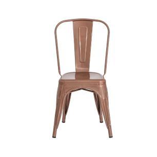 Cadeira Tolix Iron Design Rose Gold Aço Industrial Sala Cozinha Jantar Bar