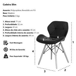 Kit 4 Cadeiras Slim Preta Base Madeira Sala Cozinha Jantar