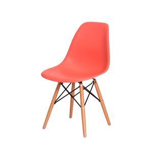 Kit 6 Cadeiras Charles Eiffel Eames Living Coral Base Madeira Sala Cozinha Jantar