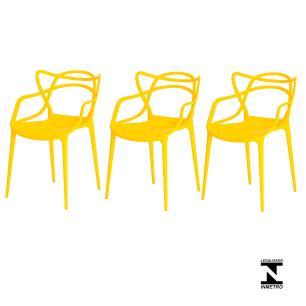Kit 3 Cadeiras Allegra Amarela Sala Cozinha Jantar