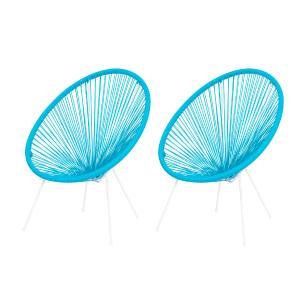 Kit 2 Cadeiras Acapulco Oval Pvc Base Ferro Pintado Azul