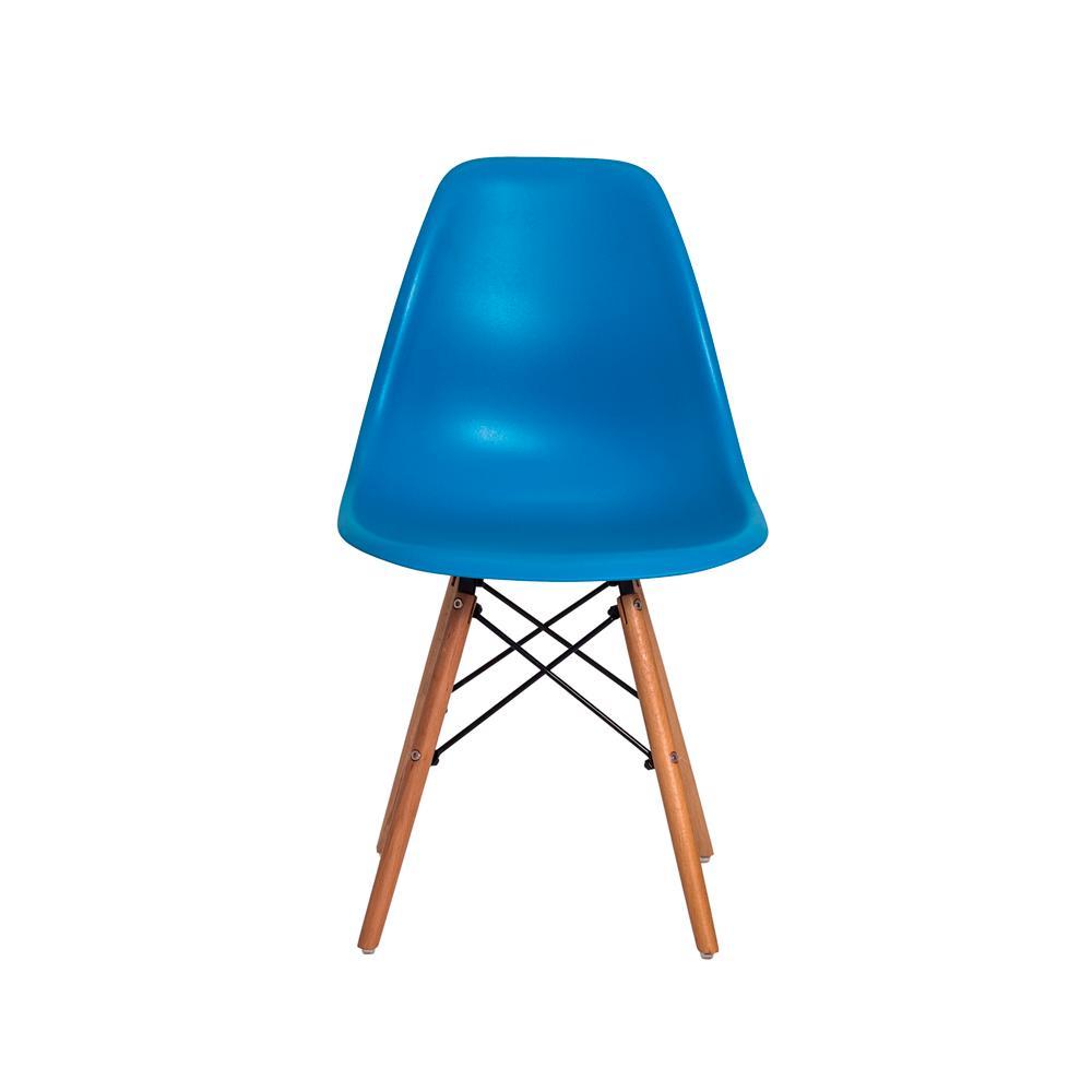 Kit 5 Cadeiras Charles Eames Eiffel Azul Base Madeira Sala Cozinha Jantar