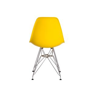 Kit 2 Cadeiras Eiffel Eames Amarela Base Cromada Sala Cozinha Jantar
