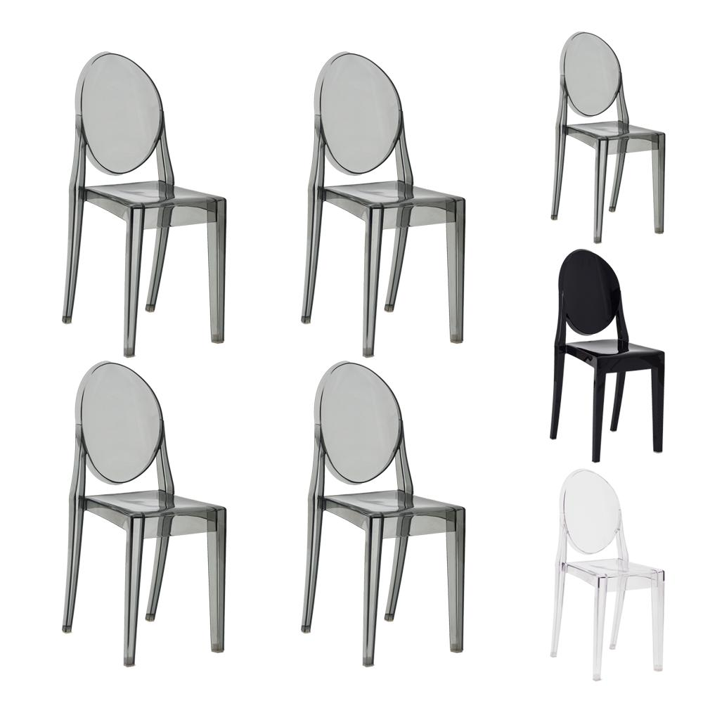 Kit 4 Cadeiras Victoria Ghost Preta Translúcido