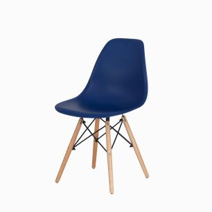 Kit 2 Cadeiras Charles Eames Eiffel Azul Marinho Base Madeira Sala Cozinha Jantar