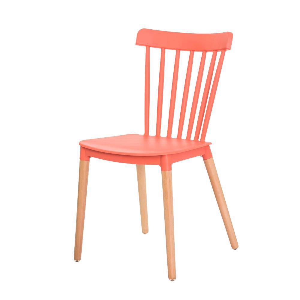 Cadeira Ellen Windsor Polipropileno Coral Base Madeira Sala Cozinha Jantar