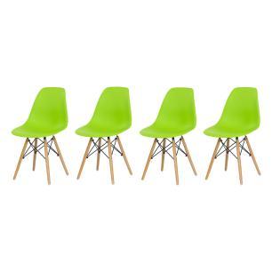 Kit 4 Cadeiras Charles Eames Eiffel Verde Base Madeira Sala Cozinha Jantar