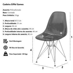 Cadeira Eiffel Eames Dsr Transparente Base Cromada Sala Cozinha Jantar