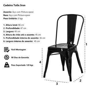 Kit 4 Cadeiras Tolix Iron Design Preto Fosco Aço Industrial Sala Cozinha Jantar Bar