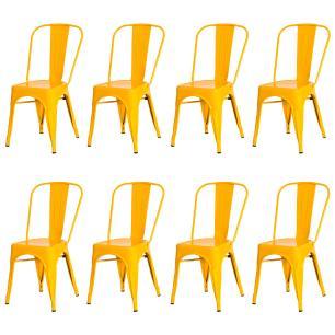 Kit 8 Cadeiras Tolix Iron Design Amarela Aço Industrial Sala Cozinha Jantar Bar