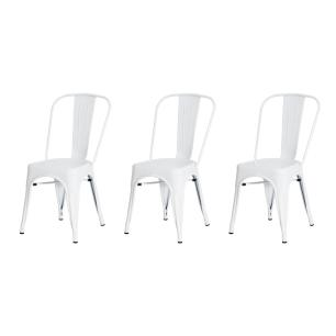 Kit 3 Cadeiras Tolix Iron Design Branca Aço Industrial Sala Cozinha Jantar Bar