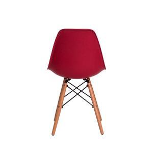 Kit 3 Cadeiras Eiffel Eames Dsw Vinho Base Madeira