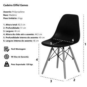Kit 6 Cadeira Eiffel Eames Tiffany Base Madeira