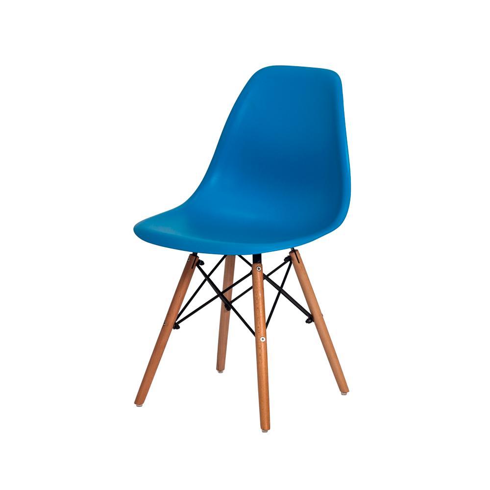 Cadeira Charles Eames Eiffel Azul Base Madeira Sala Cozinha Jantar